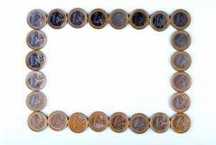 画框由欧洲硬币做成 库存图片