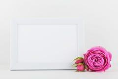 画框装饰的玫瑰色花大模型在白色书桌上的有文本的干净的空间的和设计您blogging 库存照片