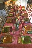 桌为一顿典雅的晚餐, Ojai,加利福尼亚设置了 免版税库存照片
