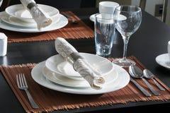 桌为西部样式晚餐布置 库存图片