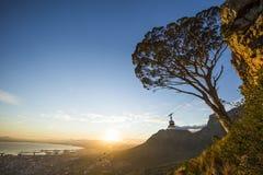 桌山空中览绳南非 免版税库存图片