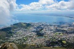 从桌山,南非的开普敦市 库存照片
