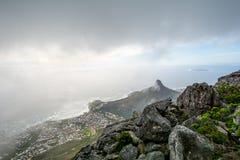 桌山ins开普敦,南非上面看法  免版税库存照片
