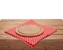 桌布或毛巾在木桌 库存照片