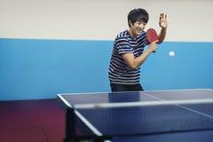 桌网球运动员乒乓球Sportman体育概念 免版税库存照片