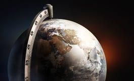 桌面地球地球,与非洲欧洲和亚洲 免版税库存照片