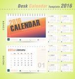 桌面日历2016传染媒介办公室例证的现代设计模板 库存图片