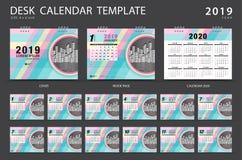 桌面日历2019年模板 套12个月 计划程序 在星期天,星期起始时间 文具设计 登广告者做广告 库存例证
