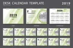 桌面日历2019年模板 套12个月 计划程序 在星期天,星期起始时间 文具设计 登广告者做广告 传染媒介布局 库存例证