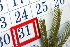 桌面日历 12月 31 免版税库存图片