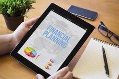 桌面片剂财政规划 免版税库存照片