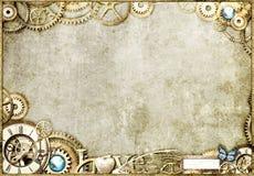 桌面金steampunk 免版税库存图片