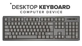 桌面键盘传染媒介 3D现实经典键盘大模型 隔绝在白色例证 库存例证