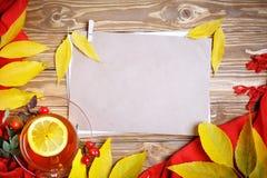 桌,装饰用秋叶、莓果和新鲜的茶 秋天 秋天背景特写镜头上色常春藤叶子橙红 库存图片