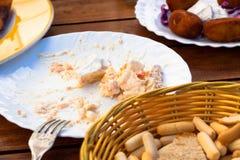 桌细节在西班牙塔帕纤维布餐馆 库存图片