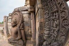 桑吉Stupa,古老佛教大厦,宗教奥秘,雕刻了石头 旅行目的地在中央邦,印度 免版税库存照片