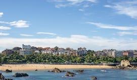 桑坦德市和Sardinero看法靠岸,坎塔布里亚,西班牙。 免版税库存照片