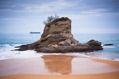 桑坦德,北西班牙, El Camello海滩 免版税图库摄影
