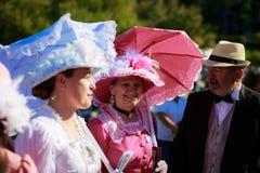 桑坦德,西班牙- 7月16 :未认出的小组成人,穿戴时代装束在服装竞争中在7月16日庆祝了 免版税库存图片