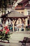 桑多梅日,波兰- 8月30 :一部分的老镇在桑多梅日是 免版税库存照片