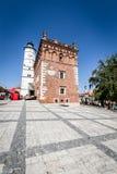 桑多梅日,波兰- 8月30 :一部分的老镇在桑多梅日是 库存图片