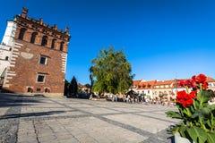 桑多梅日,波兰- 8月30 :一部分的老镇在桑多梅日是 库存照片