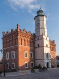 桑多梅日,波兰- 10月16 :一部分的10月16日的老镇, 免版税图库摄影