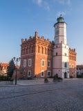桑多梅日,波兰- 10月16 :一部分的10月16日的老镇, 免版税库存照片