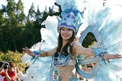 桑巴狂欢节舞蹈演员 免版税库存照片