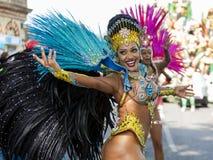 桑巴舞蹈家,诺丁山狂欢节,伦敦 库存图片