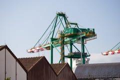 桑托斯海口和仓库 免版税图库摄影