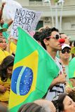 桑托斯,巴西- 2015年3月, 15日-抗议在巴西 库存照片
