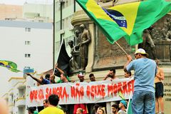 桑托斯,巴西- 2015年3月, 15日-抗议在巴西 库存图片