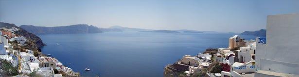 桑托林岛海岛全景 希腊 免版税图库摄影