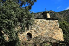 桑特安德鲁教会在安道尔城,安道尔公国 免版税库存照片