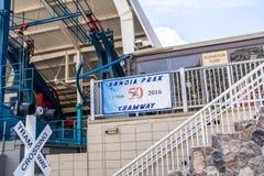桑迪亚峰顶电车轨道亚伯科基新墨西哥 库存图片