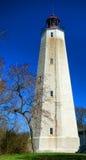 桑迪勾子在新泽西海岸的灯塔烽火台 图库摄影
