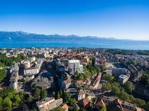 洛桑,瑞士鸟瞰图  免版税库存照片