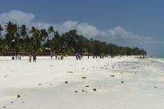 桑给巴尔海滩的人们 库存图片