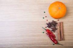 桔子、桂香、豆蔻果实、红色辣椒和五颜六色的甜椒o 免版税库存照片