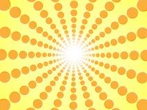 桔子光芒  黄色抽象太阳破裂了背景-梯度阳光从辐形美好的橙色圈子的向量图形设计 库存图片