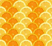 桔子和柠檬切了样式,无缝的背景 库存照片