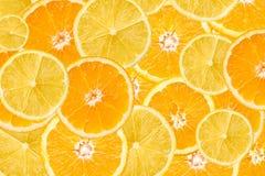 桔子和柠檬切片摘要 免版税库存照片
