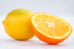 桔子和柠檬在白色背景中 库存照片