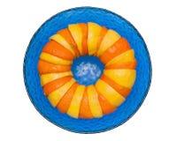 桔子和柠檬在玻璃碗 免版税库存图片