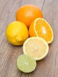 桔子和石灰柑橘水果 免版税库存照片