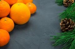 桔子和蜜桔与分支圣诞树锥体在黑具体背景 免版税库存图片