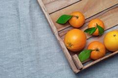 桔子和蜜桔在一个木箱在帆布 查出的汁液橙色白色 免版税库存图片