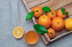 桔子和蜜桔在一个木箱在帆布 查出的汁液橙色白色 库存图片