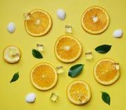 桔子在黄色Backg留下立方体冰海壳柑橘样式 库存图片